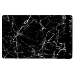 Black Marble Stone Pattern Apple Ipad 2 Flip Case by Dushan