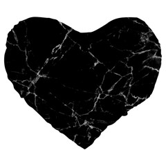 Black Marble Stone Pattern Large 19  Premium Heart Shape Cushions