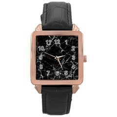 Black Marble Stone Pattern Rose Gold Watches