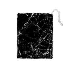 Black Marble Stone Pattern Drawstring Pouches (medium)  by Dushan