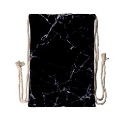 Black Marble Stone Pattern Drawstring Bag (small) by Dushan