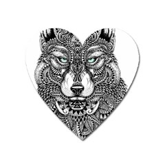 Intricate Elegant Wolf Head Illustration Heart Magnet by Dushan