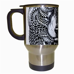 Intricate Elegant Wolf Head Illustration Travel Mugs (white) by Dushan