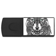 Intricate Elegant Wolf Head Illustration Usb Flash Drive Rectangular (4 Gb)  by Dushan