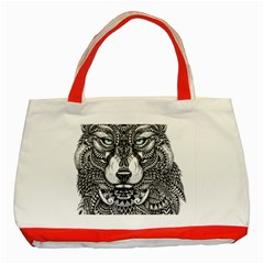 Intricate Elegant Wolf Head Illustration Classic Tote Bag (red)