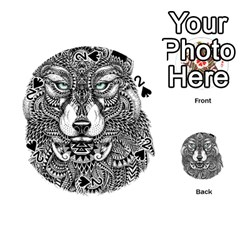 Intricate Elegant Wolf Head Illustration Playing Cards 54 (round)