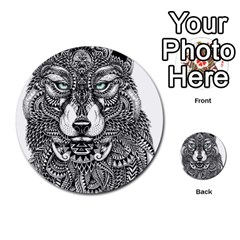 Intricate Elegant Wolf Head Illustration Multi Purpose Cards (round)  by Dushan