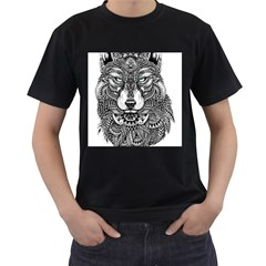 Intricate Elegant Wolf Head Illustration Men s T Shirt (black)