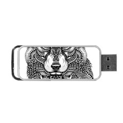 Intricate Elegant Wolf Head Illustration Portable Usb Flash (two Sides)