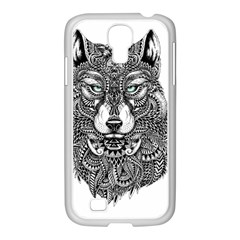 Intricate Elegant Wolf Head Illustration Samsung Galaxy S4 I9500/ I9505 Case (white) by Dushan