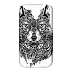 Intricate Elegant Wolf Head Illustration Samsung Galaxy S4 Classic Hardshell Case (pc+silicone) by Dushan