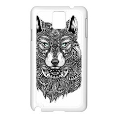 Intricate Elegant Wolf Head Illustration Samsung Galaxy Note 3 N9005 Case (white)