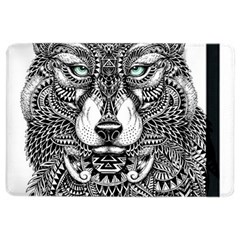 Intricate Elegant Wolf Head Illustration Ipad Air 2 Flip by Dushan