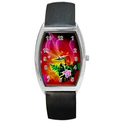 Awesome F?owers With Glowing Lines Barrel Metal Watches by FantasyWorld7