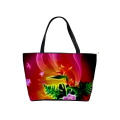 Awesome F?owers With Glowing Lines Shoulder Handbags by FantasyWorld7