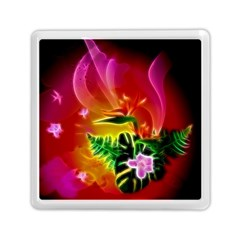 Awesome F?owers With Glowing Lines Memory Card Reader (square)  by FantasyWorld7
