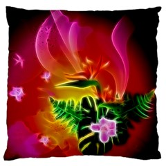 Awesome F?owers With Glowing Lines Large Cushion Cases (two Sides)  by FantasyWorld7