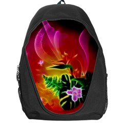 Awesome F?owers With Glowing Lines Backpack Bag by FantasyWorld7