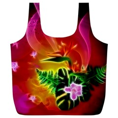 Awesome F?owers With Glowing Lines Full Print Recycle Bags (l)  by FantasyWorld7