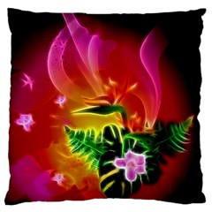 Awesome F?owers With Glowing Lines Standard Flano Cushion Cases (one Side)  by FantasyWorld7