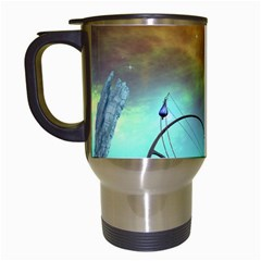 Fantasy Landscape With Lamp Boat And Awesome Sky Travel Mugs (white) by FantasyWorld7