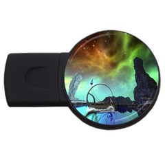 Fantasy Landscape With Lamp Boat And Awesome Sky Usb Flash Drive Round (4 Gb)  by FantasyWorld7