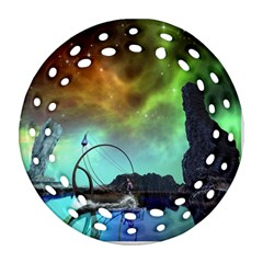 Fantasy Landscape With Lamp Boat And Awesome Sky Round Filigree Ornament (2side) by FantasyWorld7