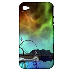 Fantasy Landscape With Lamp Boat And Awesome Sky Apple Iphone 4/4s Hardshell Case (pc+silicone) by FantasyWorld7
