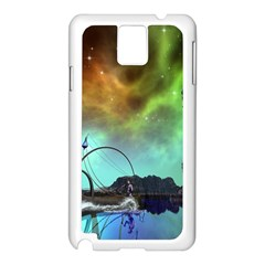 Fantasy Landscape With Lamp Boat And Awesome Sky Samsung Galaxy Note 3 N9005 Case (white) by FantasyWorld7