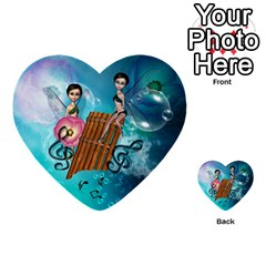 Music, Pan Flute With Fairy Multi Purpose Cards (heart)  by FantasyWorld7