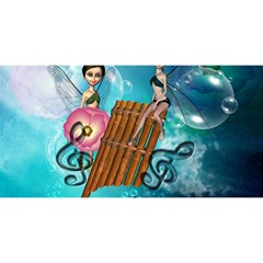 Music, Pan Flute With Fairy You Are Invited 3d Greeting Card (8x4)  by FantasyWorld7