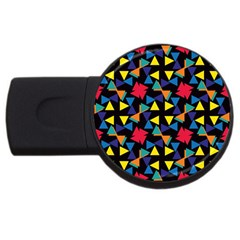 Colorful Triangles And Flowers Pattern Usb Flash Drive Round (4 Gb) by LalyLauraFLM