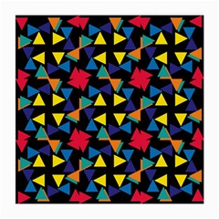 Colorful Triangles And Flowers Pattern Medium Glasses Cloth (2 Sides) by LalyLauraFLM