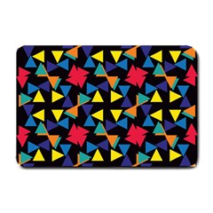 Colorful Triangles And Flowers Pattern Small Doormat by LalyLauraFLM