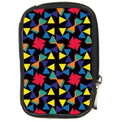 Colorful Triangles And Flowers Pattern Compact Camera Leather Case by LalyLauraFLM