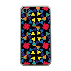 Colorful Triangles And Flowers Pattern Apple Iphone 4 Case (clear) by LalyLauraFLM
