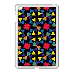 Colorful Triangles And Flowers Pattern Apple Ipad Mini Case (white) by LalyLauraFLM