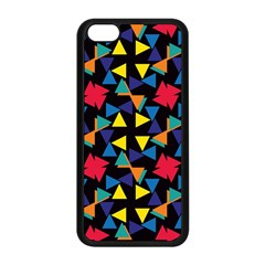 Colorful Triangles And Flowers Pattern Apple Iphone 5c Seamless Case (black) by LalyLauraFLM