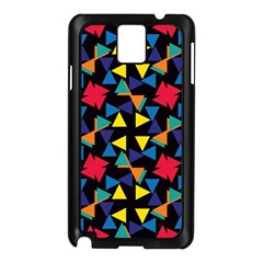 Colorful Triangles And Flowers Pattern Samsung Galaxy Note 3 N9005 Case (black) by LalyLauraFLM