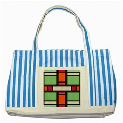 Rectangles Cross Striped Blue Tote Bag by LalyLauraFLM
