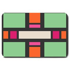 Rectangles Cross Large Doormat by LalyLauraFLM