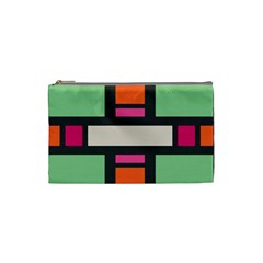 Rectangles Cross Cosmetic Bag (small) by LalyLauraFLM
