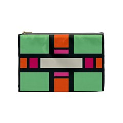 Rectangles Cross Cosmetic Bag (medium) by LalyLauraFLM