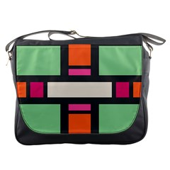 Rectangles Cross Messenger Bag by LalyLauraFLM