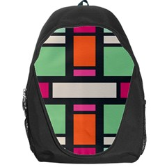 Rectangles Cross Backpack Bag by LalyLauraFLM