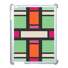 Rectangles Cross Apple Ipad 3/4 Case (white) by LalyLauraFLM