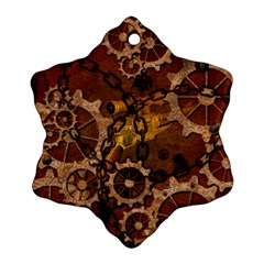 Steampunk In Rusty Metal Snowflake Ornament (2 Side) by FantasyWorld7