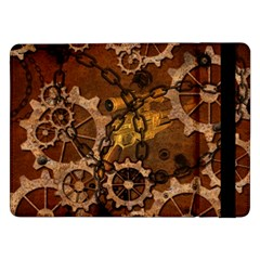 Steampunk In Rusty Metal Samsung Galaxy Tab Pro 12 2  Flip Case by FantasyWorld7