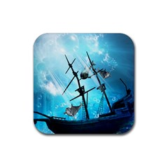 Underwater World With Shipwreck And Dolphin Rubber Coaster (square)  by FantasyWorld7