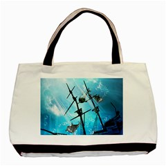 Underwater World With Shipwreck And Dolphin Basic Tote Bag